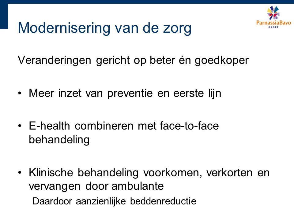 Modernisering van de zorg Veranderingen gericht op beter én goedkoper Meer inzet van preventie en eerste lijn E-health combineren met face-to-face beh