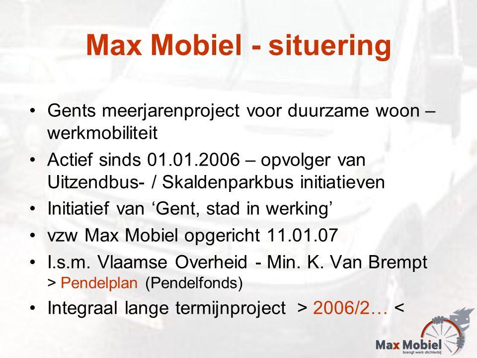 Max Mobiel - situering Gents meerjarenproject voor duurzame woon – werkmobiliteit Actief sinds 01.01.2006 – opvolger van Uitzendbus- / Skaldenparkbus initiatieven Initiatief van 'Gent, stad in werking' vzw Max Mobiel opgericht 11.01.07 I.s.m.