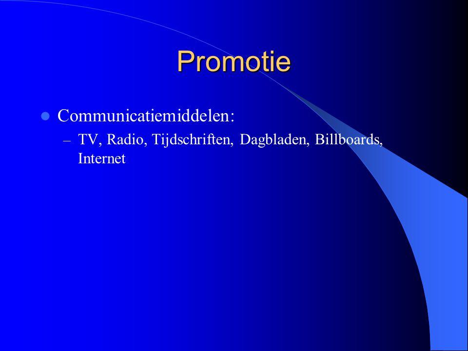Promotie Communicatiemiddelen: – TV, Radio, Tijdschriften, Dagbladen, Billboards, Internet