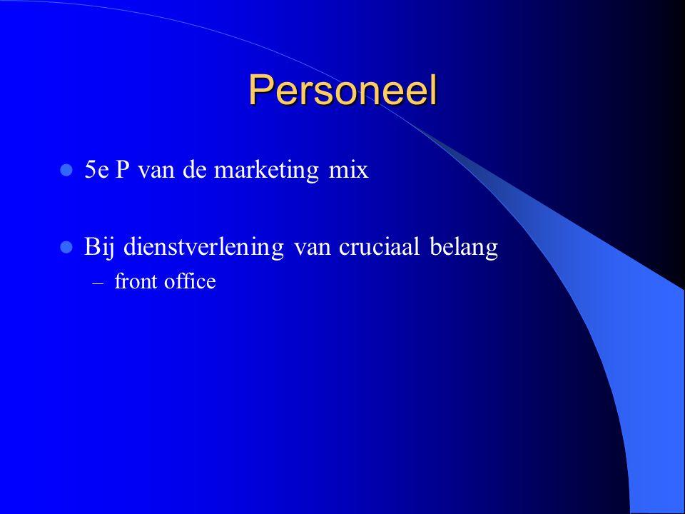 Personeel 5e P van de marketing mix Bij dienstverlening van cruciaal belang – front office