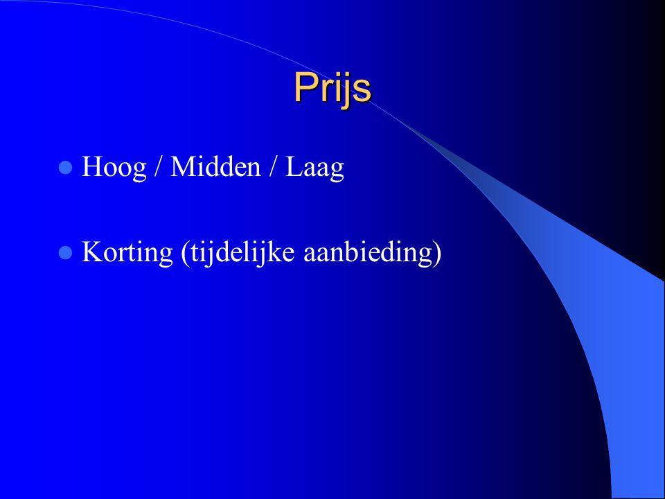 Prijs Hoog / Midden / Laag Korting (tijdelijke aanbieding)