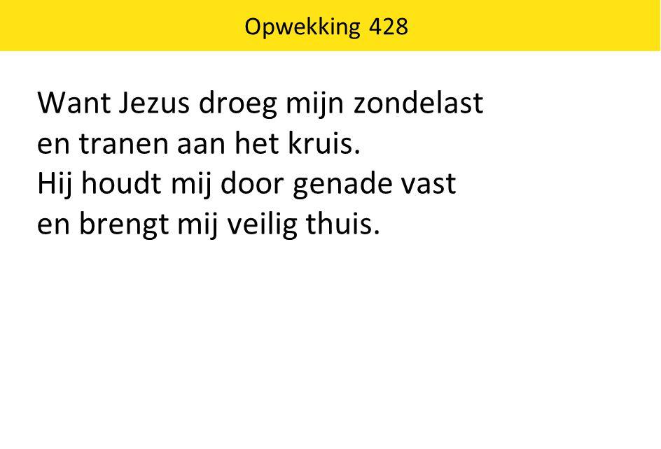 Want Jezus droeg mijn zondelast en tranen aan het kruis. Hij houdt mij door genade vast en brengt mij veilig thuis. Opwekking 428