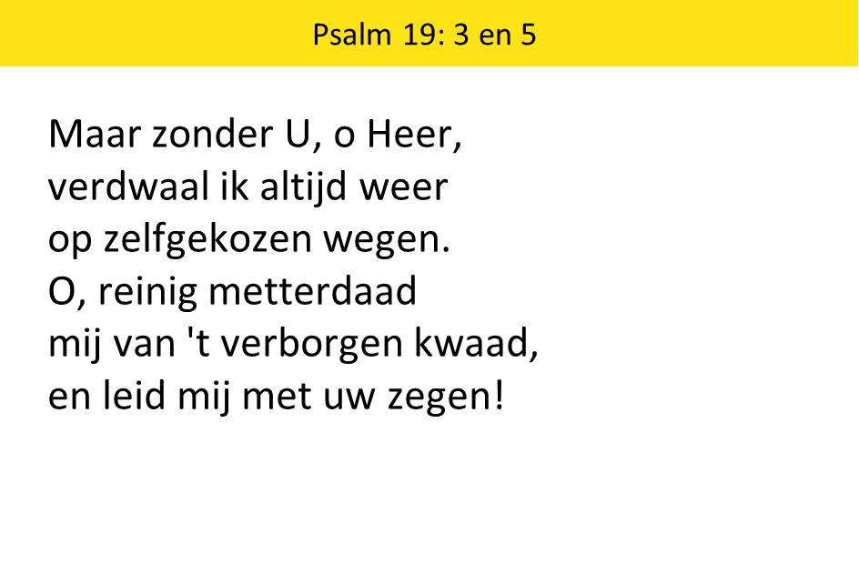 Maar zonder U, o Heer, verdwaal ik altijd weer op zelfgekozen wegen. O, reinig metterdaad mij van 't verborgen kwaad, en leid mij met uw zegen! Psalm