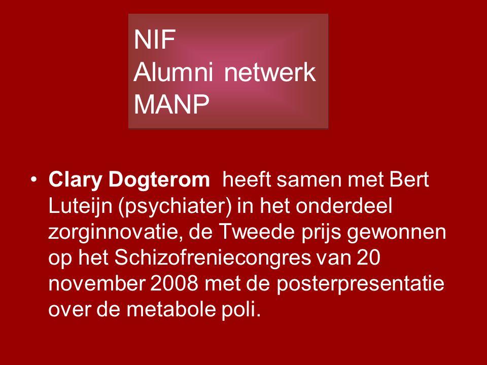 Clary Dogterom heeft samen met Bert Luteijn (psychiater) in het onderdeel zorginnovatie, de Tweede prijs gewonnen op het Schizofreniecongres van 20 no