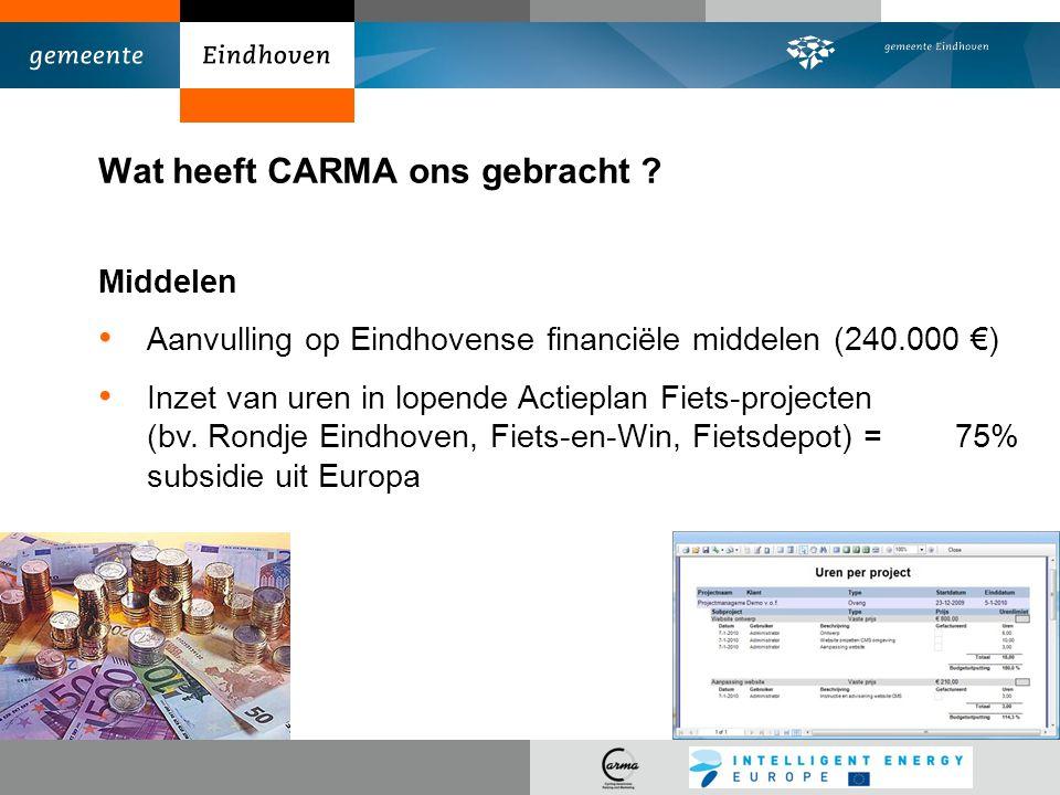Wat heeft CARMA ons gebracht ? Middelen Aanvulling op Eindhovense financiële middelen (240.000 €) Inzet van uren in lopende Actieplan Fiets-projecten