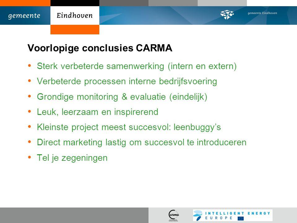 Voorlopige conclusies CARMA Sterk verbeterde samenwerking (intern en extern) Verbeterde processen interne bedrijfsvoering Grondige monitoring & evalua