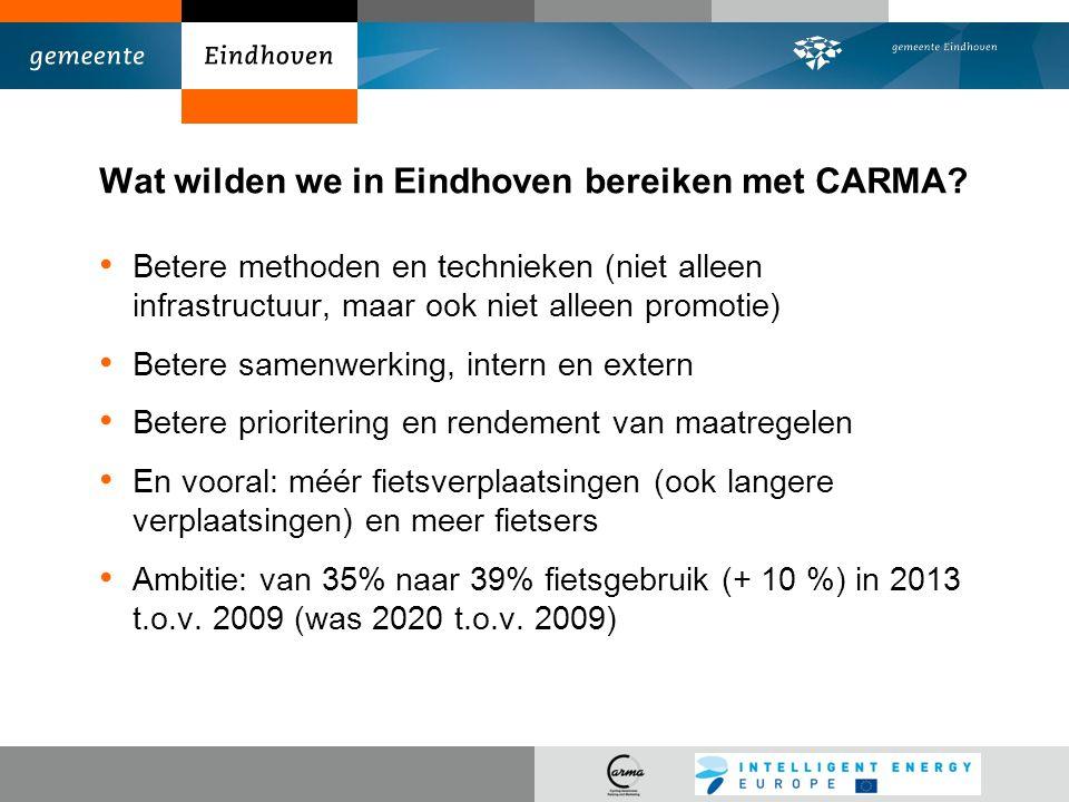 Wat wilden we in Eindhoven bereiken met CARMA? Betere methoden en technieken (niet alleen infrastructuur, maar ook niet alleen promotie) Betere samenw