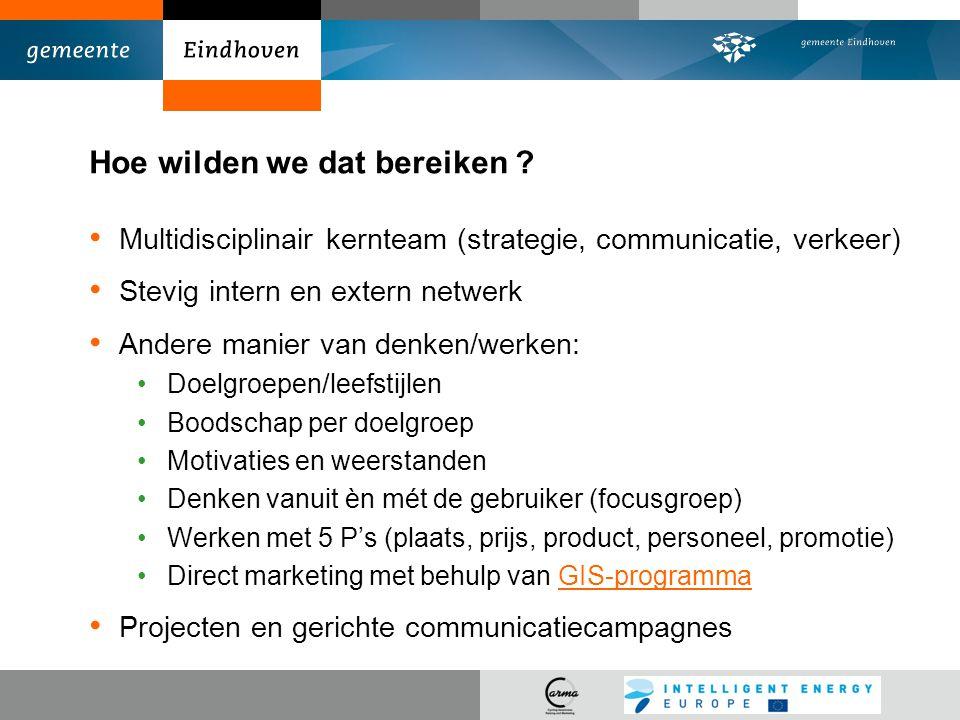 Hoe wilden we dat bereiken ? Multidisciplinair kernteam (strategie, communicatie, verkeer) Stevig intern en extern netwerk Andere manier van denken/we