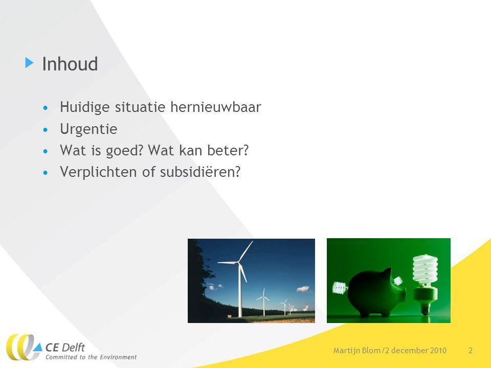 2Martijn Blom/2 december 2010 Inhoud Huidige situatie hernieuwbaar Urgentie Wat is goed.
