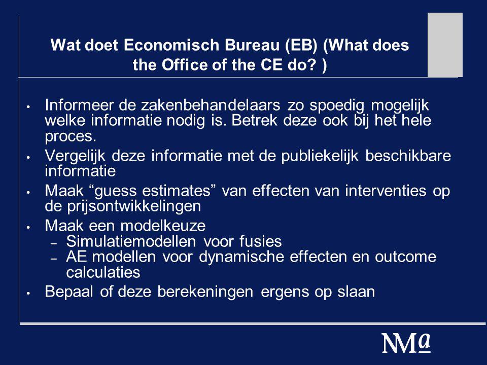 Wat doet Economisch Bureau (EB) (What does the Office of the CE do? ) Informeer de zakenbehandelaars zo spoedig mogelijk welke informatie nodig is. Be