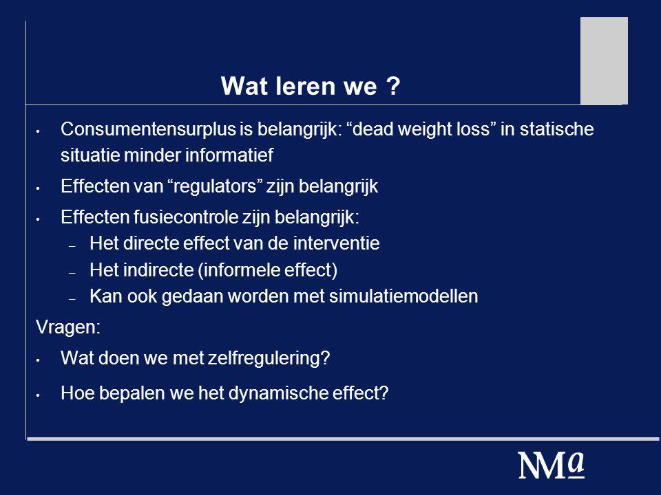 """Wat leren we ? Consumentensurplus is belangrijk: """"dead weight loss"""" in statische situatie minder informatief Effecten van """"regulators"""" zijn belangrijk"""