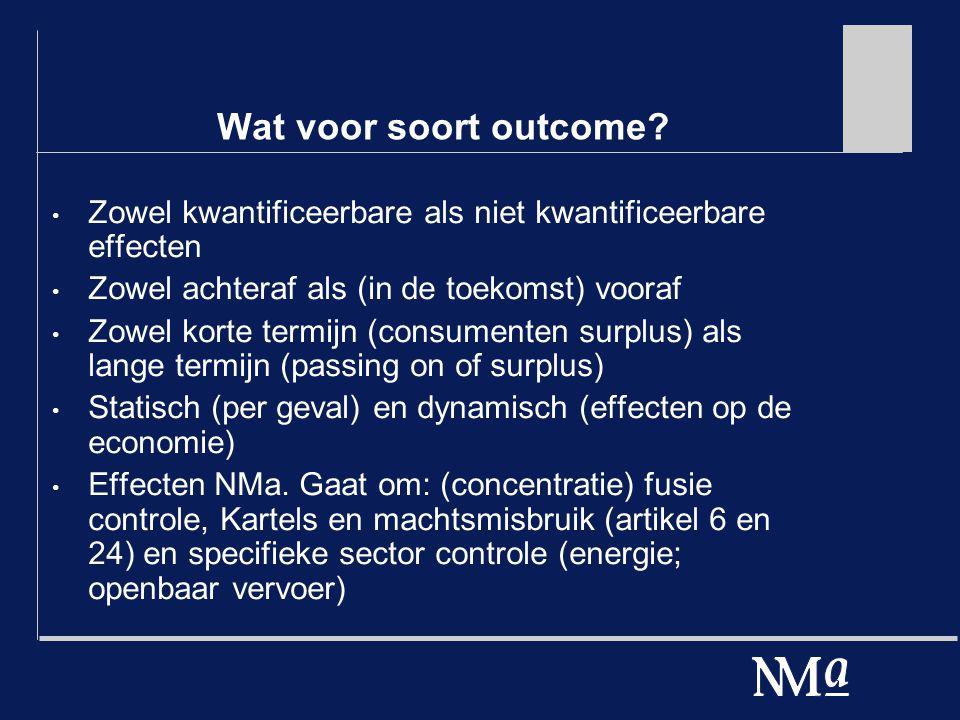 Wat voor soort outcome? Zowel kwantificeerbare als niet kwantificeerbare effecten Zowel achteraf als (in de toekomst) vooraf Zowel korte termijn (cons