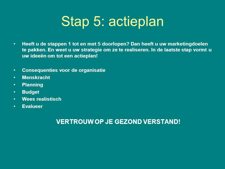 Stap 5: actieplan Heeft u de stappen 1 tot en met 5 doorlopen? Dan heeft u uw marketingdoelen te pakken. En weet u uw strategie om ze te realiseren. I