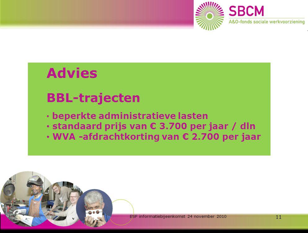 ESF informatiebijeenkomst 24 november 2010 10 Malus-regeling stok achter de deur voor realistische aanvragen Realisatie < 60% leidt tot subsidie 35%