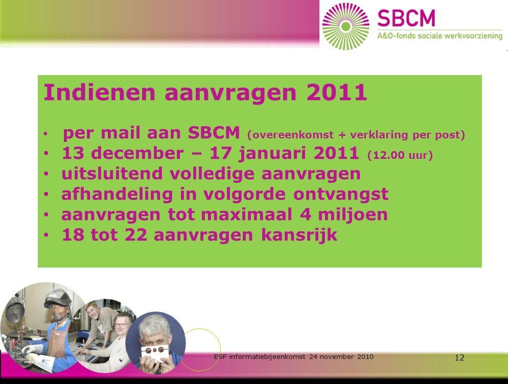 ESF informatiebijeenkomst 24 november 2010 11 Advies BBL-trajecten beperkte administratieve lasten standaard prijs van € 3.700 per jaar / dln WVA -afdrachtkorting van € 2.700 per jaar