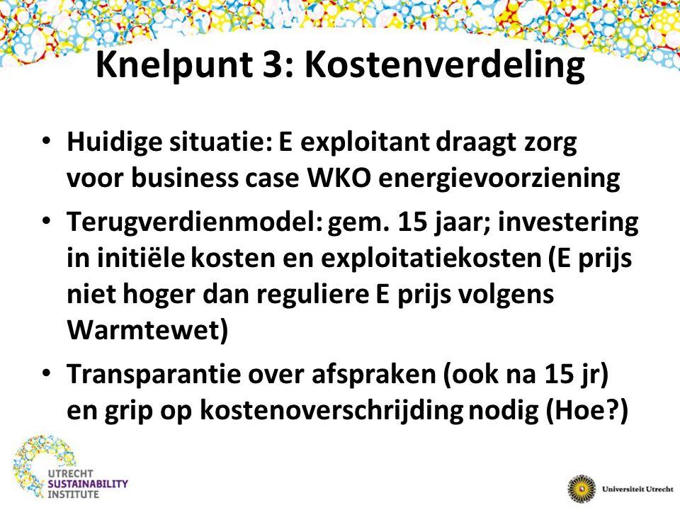 Knelpunt 3: Kostenverdeling Huidige situatie: E exploitant draagt zorg voor business case WKO energievoorziening Terugverdienmodel: gem.