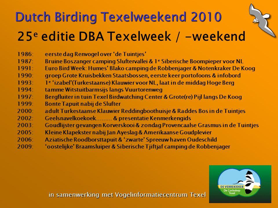 Dutch Birding Texelweekend 2010 in samenwerking met Vogelinformatiecentrum Texel in samenwerking met Vogelinformatiecentrum Texel 25 e editie DBA Texe