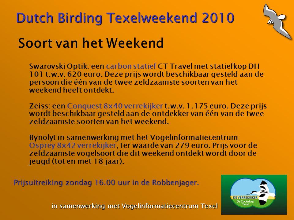 Dutch Birding Texelweekend 2010 in samenwerking met Vogelinformatiecentrum Texel in samenwerking met Vogelinformatiecentrum Texel Soort van het Weekend Swarovski Optik: een carbon statief CT Travel met statiefkop DH 101 t.w.v.