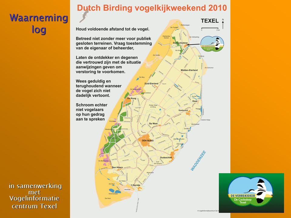 Waarneming log in samenwerking met Vogelinformatie in samenwerking met Vogelinformatie centrum Texel