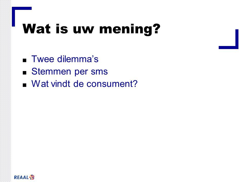 Wat is uw mening? ■ Twee dilemma's ■ Stemmen per sms ■ Wat vindt de consument?
