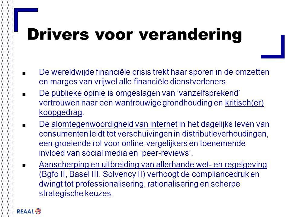 Drivers voor verandering ■ De wereldwijde financiële crisis trekt haar sporen in de omzetten en marges van vrijwel alle financiële dienstverleners.