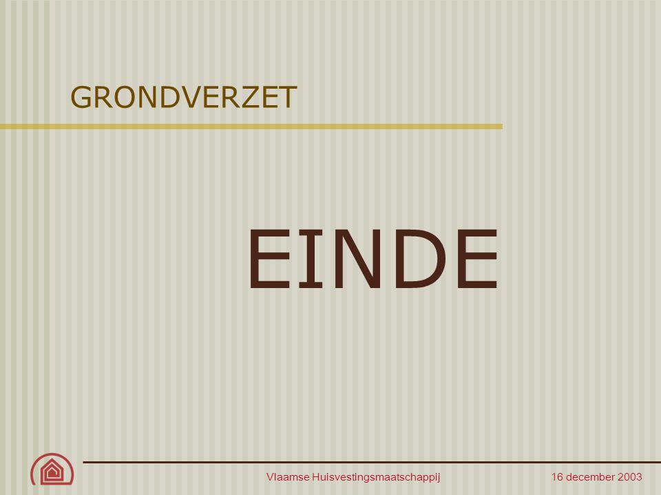 Vlaamse Huisvestingsmaatschappij 16 december 2003 GRONDVERZET EINDE