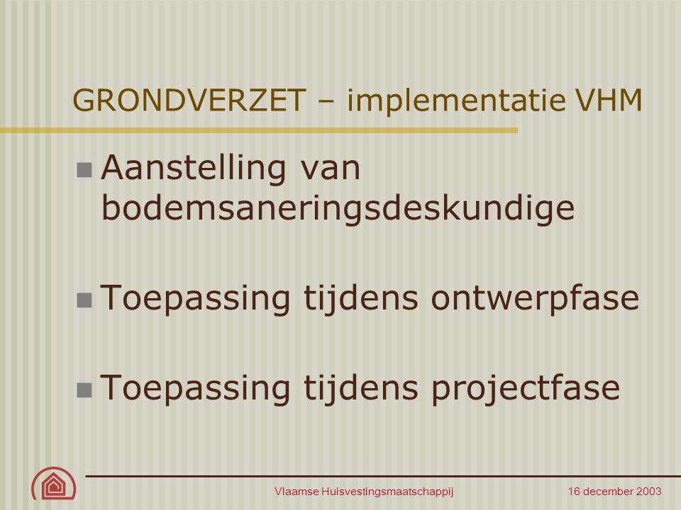 Vlaamse Huisvestingsmaatschappij 16 december 2003 GRONDVERZET – implementatie VHM Aanstelling van bodemsaneringsdeskundige Toepassing tijdens ontwerpf