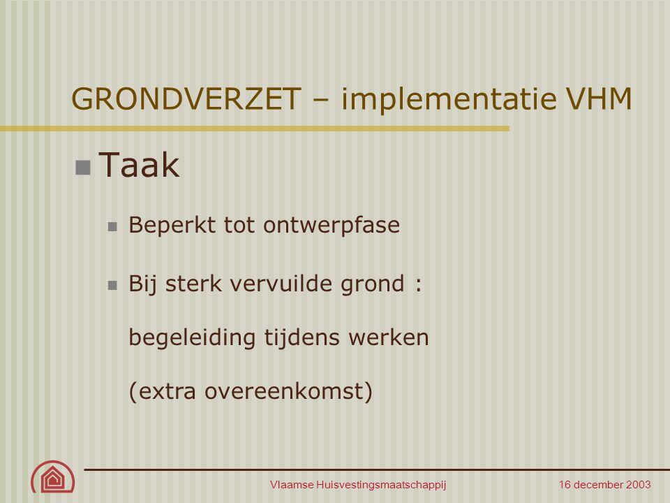 Vlaamse Huisvestingsmaatschappij 16 december 2003 GRONDVERZET – implementatie VHM Taak Beperkt tot ontwerpfase Bij sterk vervuilde grond : begeleiding tijdens werken (extra overeenkomst)