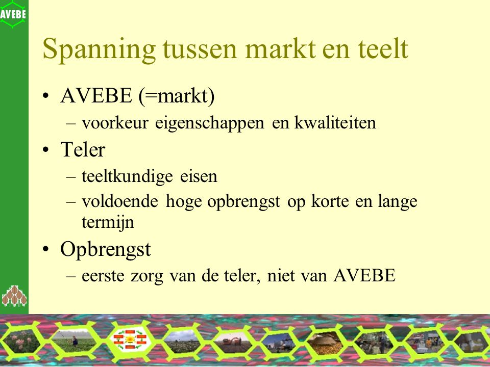 Spanning tussen markt en teelt AVEBE (=markt) –voorkeur eigenschappen en kwaliteiten Teler –teeltkundige eisen –voldoende hoge opbrengst op korte en l