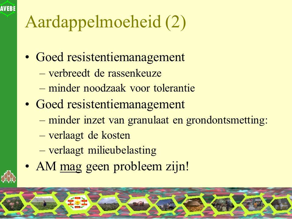 Aardappelmoeheid (2) Goed resistentiemanagement –verbreedt de rassenkeuze –minder noodzaak voor tolerantie Goed resistentiemanagement –minder inzet va