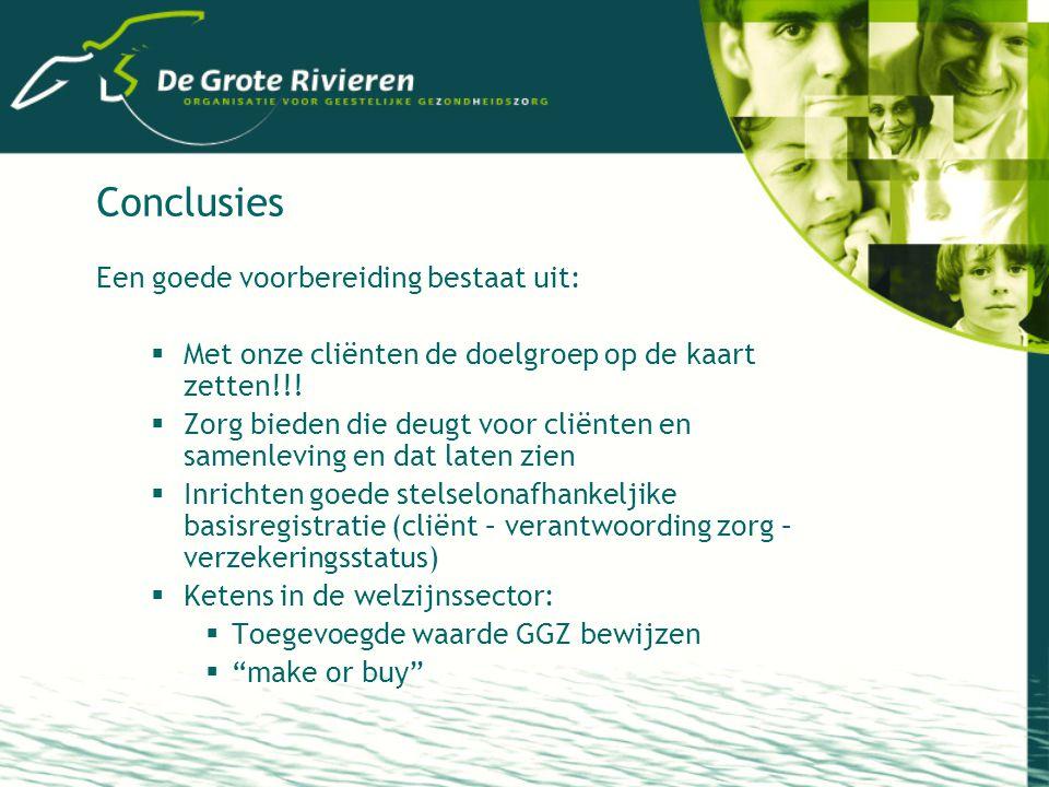 Conclusies Een goede voorbereiding bestaat uit:  Met onze cliënten de doelgroep op de kaart zetten!!.