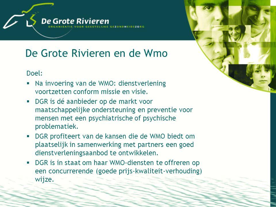 De Grote Rivieren en de Wmo Doel:  Na invoering van de WMO: dienstverlening voortzetten conform missie en visie.