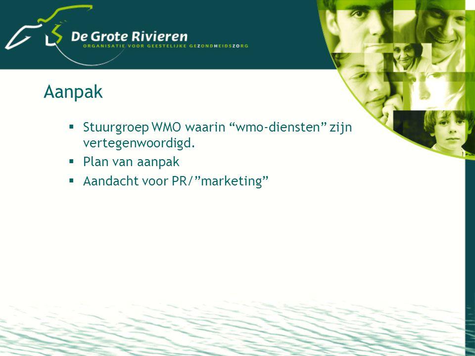 Aanpak  Stuurgroep WMO waarin wmo-diensten zijn vertegenwoordigd.