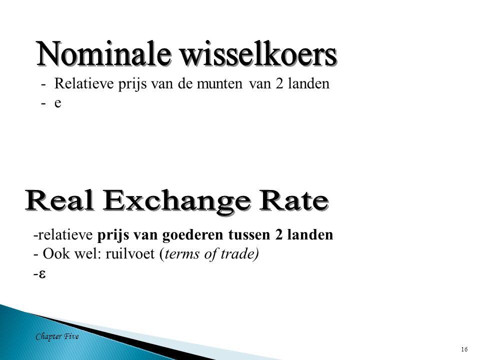 Chapter Five 16 - Relatieve prijs van de munten van 2 landen - e -relatieve prijs van goederen tussen 2 landen - Ook wel: ruilvoet (terms of trade) - 