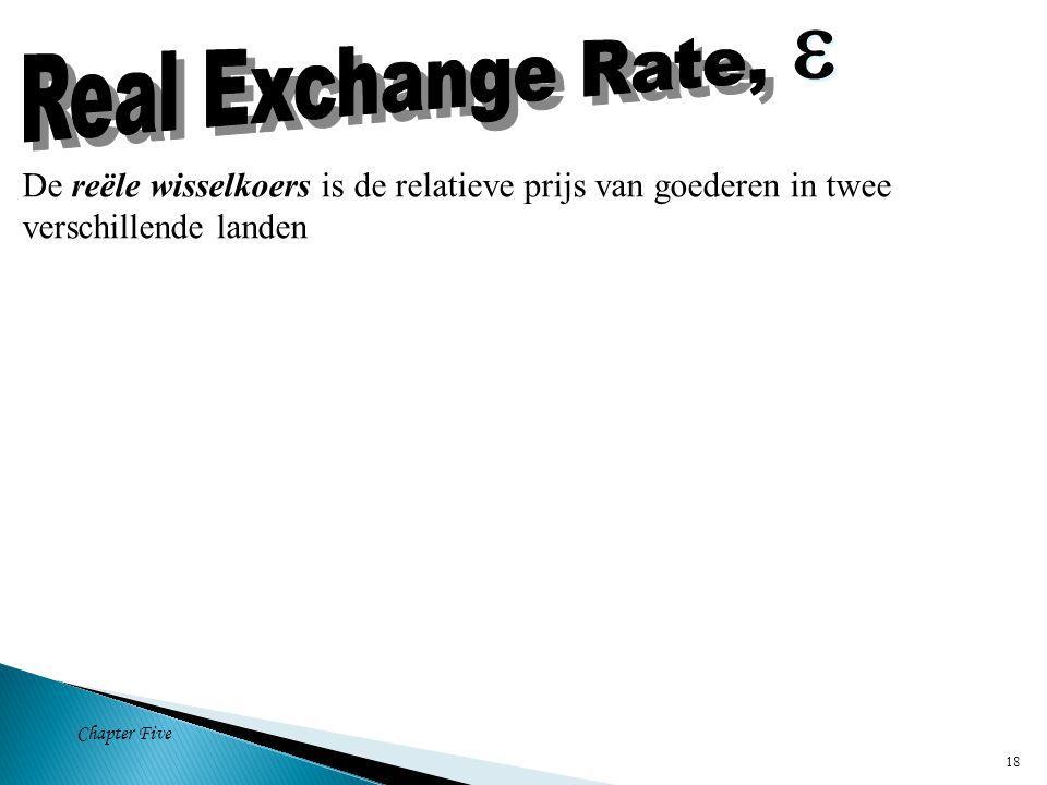Chapter Five 18 De reële wisselkoers is de relatieve prijs van goederen in twee verschillende landen  