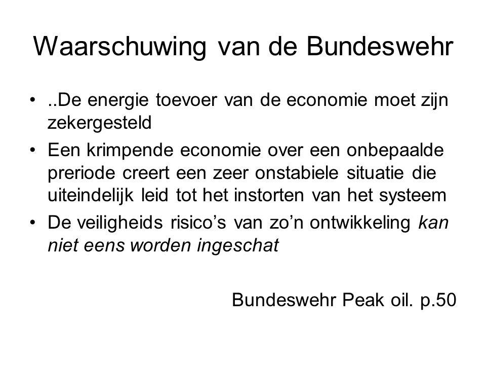 Waarschuwing van de Bundeswehr..De energie toevoer van de economie moet zijn zekergesteld Een krimpende economie over een onbepaalde preriode creert een zeer onstabiele situatie die uiteindelijk leid tot het instorten van het systeem De veiligheids risico's van zo'n ontwikkeling kan niet eens worden ingeschat Bundeswehr Peak oil.