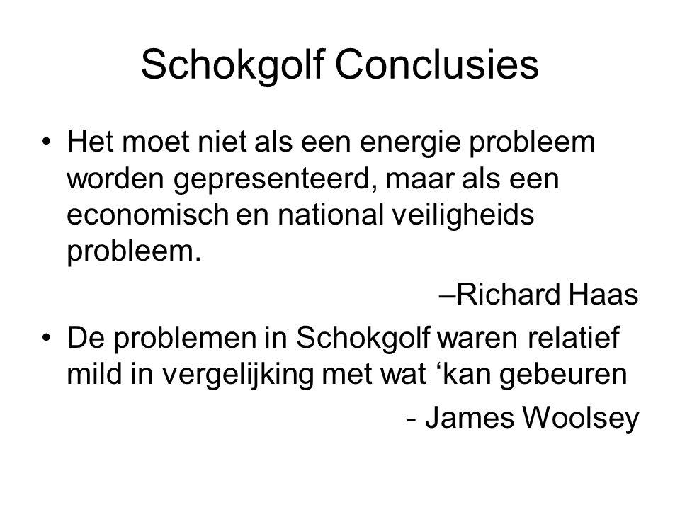 Schokgolf Conclusies Het moet niet als een energie probleem worden gepresenteerd, maar als een economisch en national veiligheids probleem.