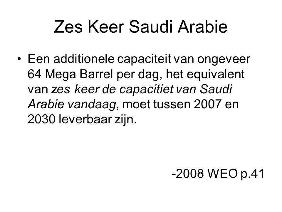 Zes Keer Saudi Arabie Een additionele capaciteit van ongeveer 64 Mega Barrel per dag, het equivalent van zes keer de capacitiet van Saudi Arabie vandaag, moet tussen 2007 en 2030 leverbaar zijn.