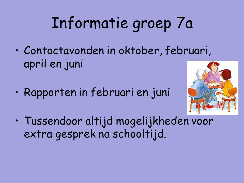 Informatie groep 7a Contactavonden in oktober, februari, april en juni Rapporten in februari en juni Tussendoor altijd mogelijkheden voor extra gesprek na schooltijd.