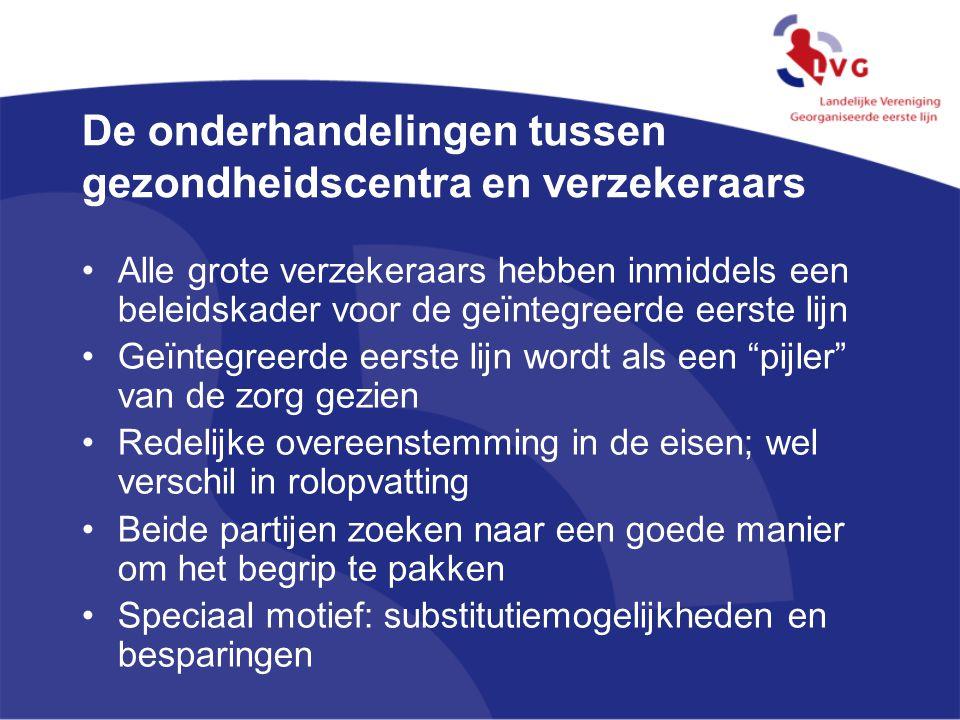 De onderhandelingen tussen gezondheidscentra en verzekeraars Alle grote verzekeraars hebben inmiddels een beleidskader voor de geïntegreerde eerste li