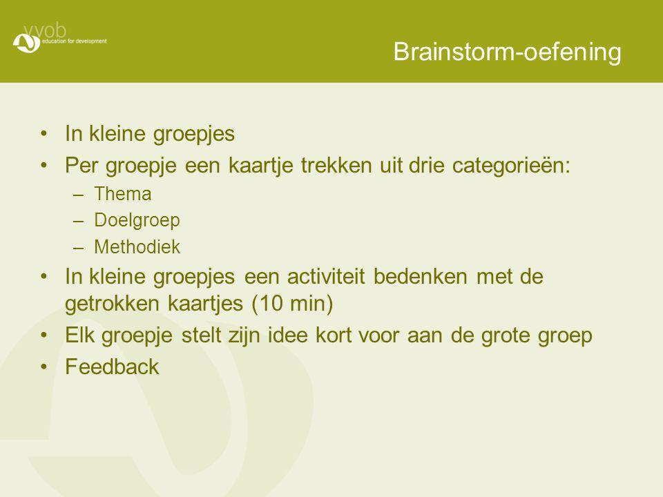 Brainstorm-oefening In kleine groepjes Per groepje een kaartje trekken uit drie categorieën: –Thema –Doelgroep –Methodiek In kleine groepjes een activiteit bedenken met de getrokken kaartjes (10 min) Elk groepje stelt zijn idee kort voor aan de grote groep Feedback