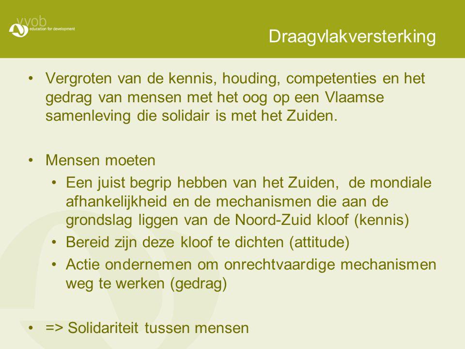 Draagvlakversterking Vergroten van de kennis, houding, competenties en het gedrag van mensen met het oog op een Vlaamse samenleving die solidair is met het Zuiden.