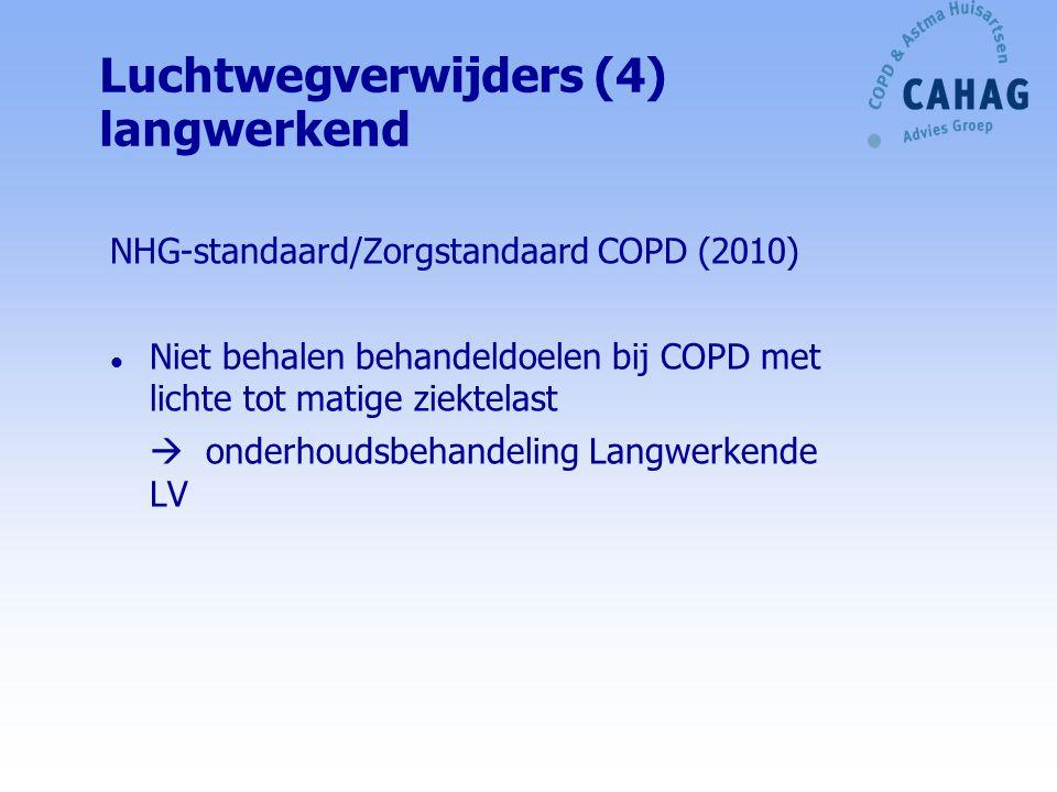 NHG-standaard COPD/CBO richtlijn 'Nieuwe' COPD met (nog) weinig beperkingen: begin met kortwerkende luchtwegverwijder(s) + ga door bij weinig frequente klachten Empirisch nagaan welke luchtwegverwijder of combinatie meest werkzaam is.
