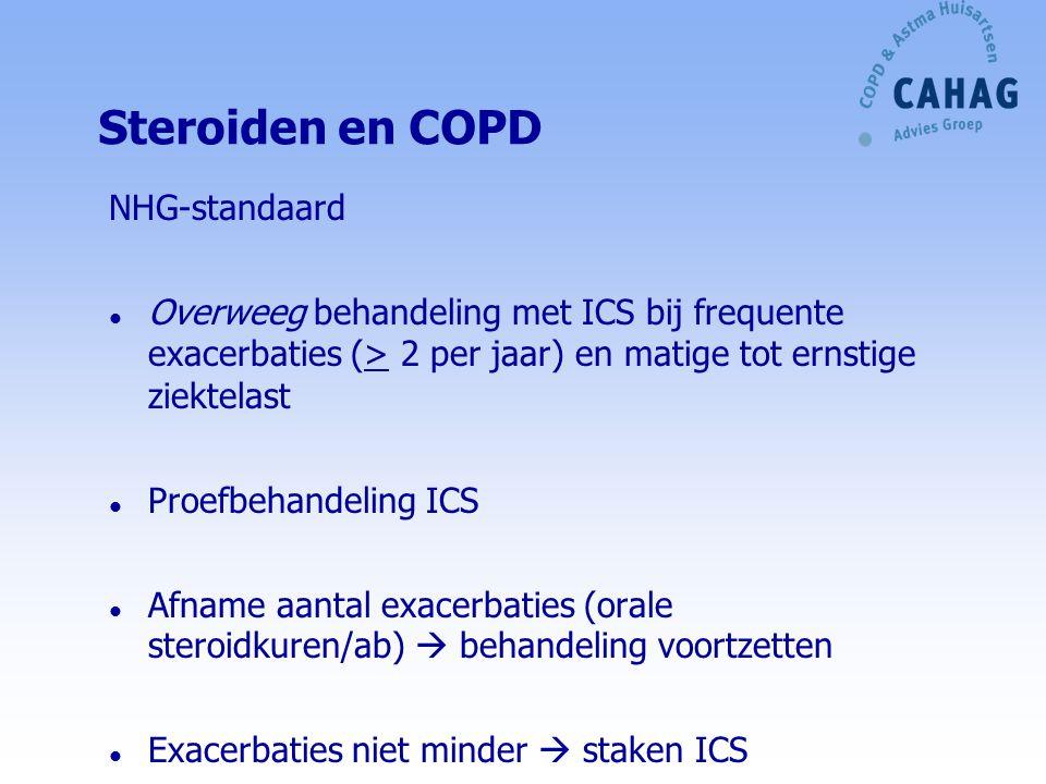 Luchtwegverwijders (4) langwerkend NHG-standaard/Zorgstandaard COPD (2010) l Niet behalen behandeldoelen bij COPD met lichte tot matige ziektelast  onderhoudsbehandeling Langwerkende LV