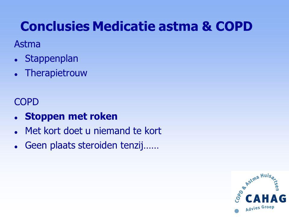 Stoppen met steroiden (2) NHG-standaard en Zorgstandaard COPD 2010 l Overweeg ICS staken (lichte ziektelast COPD) Wanneer niet: l Mengbeeld astma-COPD / V.G:.