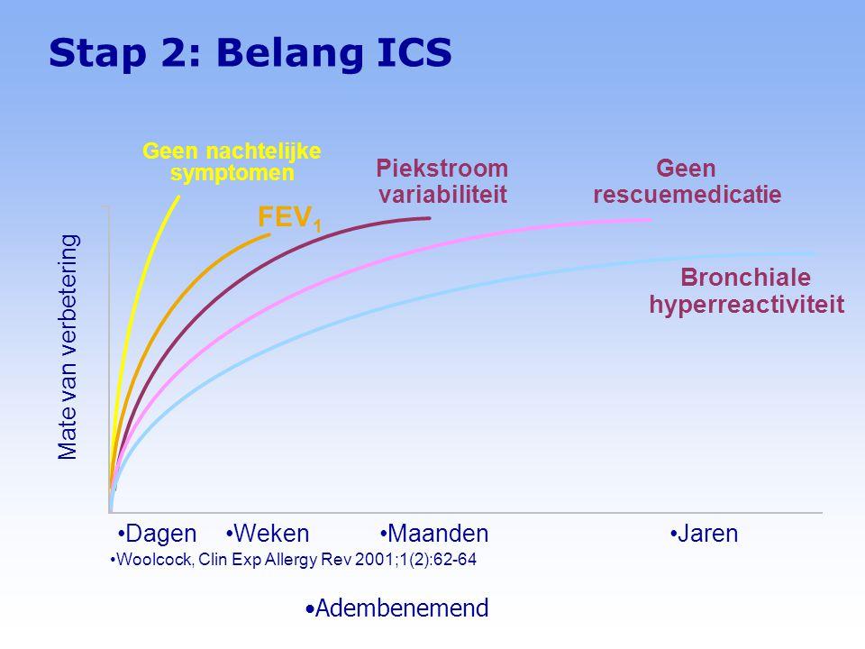Adembenemend Stap 2: Belang ICS Woolcock, Clin Exp Allergy Rev 2001;1(2):62-64 JarenMaanden DagenWeken Geen nachtelijke symptomen Piekstroom variabiliteit FEV 1 Bronchiale hyperreactiviteit Geen rescuemedicatie Mate van verbetering