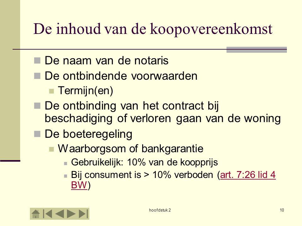 hoofdstuk 210 De inhoud van de koopovereenkomst De naam van de notaris De ontbindende voorwaarden Termijn(en) De ontbinding van het contract bij besch