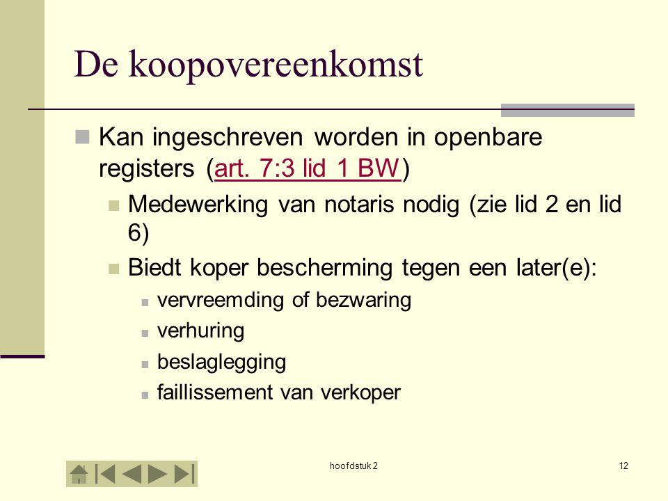 hoofdstuk 212 De koopovereenkomst Kan ingeschreven worden in openbare registers (art. 7:3 lid 1 BW)art. 7:3 lid 1 BW Medewerking van notaris nodig (zi