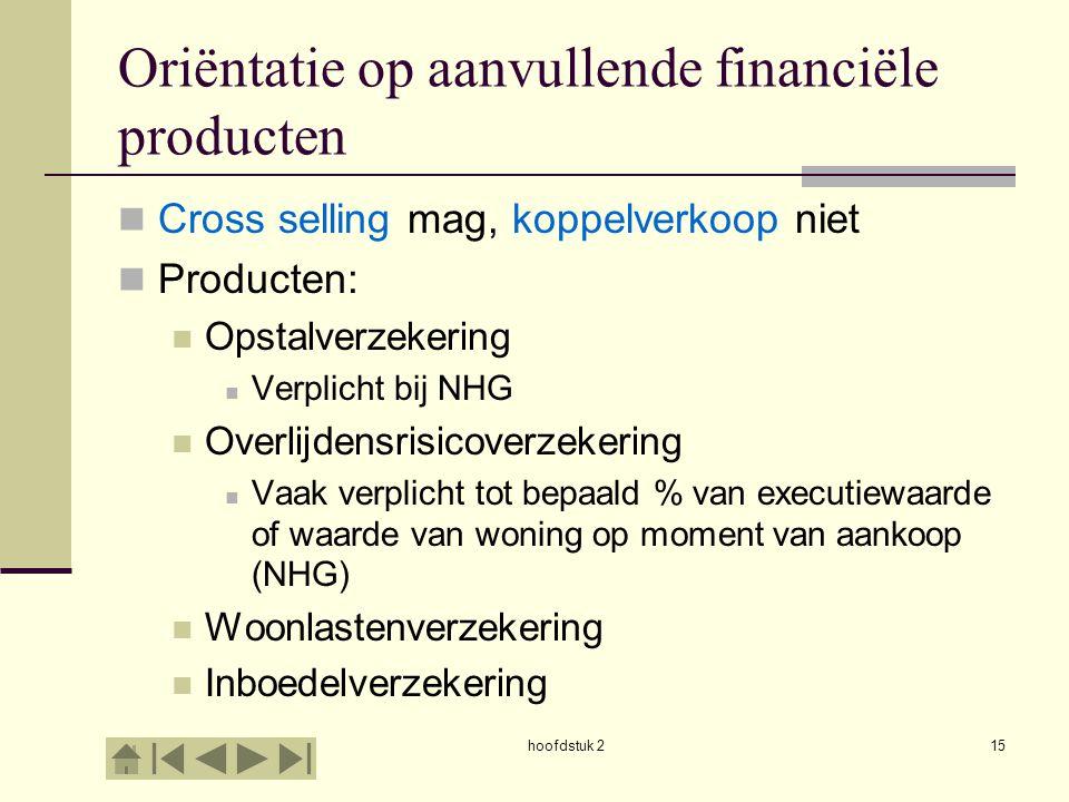 hoofdstuk 215 Oriëntatie op aanvullende financiële producten Cross selling mag, koppelverkoop niet Producten: Opstalverzekering Verplicht bij NHG Over