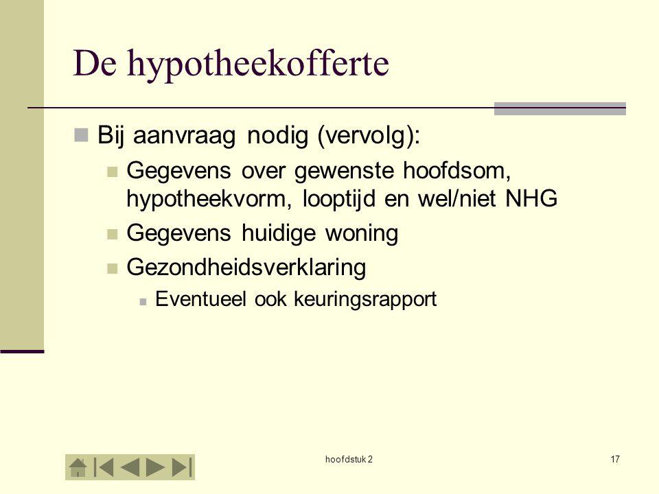 hoofdstuk 217 De hypotheekofferte Bij aanvraag nodig (vervolg): Gegevens over gewenste hoofdsom, hypotheekvorm, looptijd en wel/niet NHG Gegevens huid